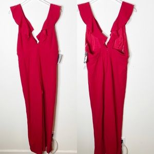 Jump Apparel Red Jumpsuit Ruffle Plunge Neckline